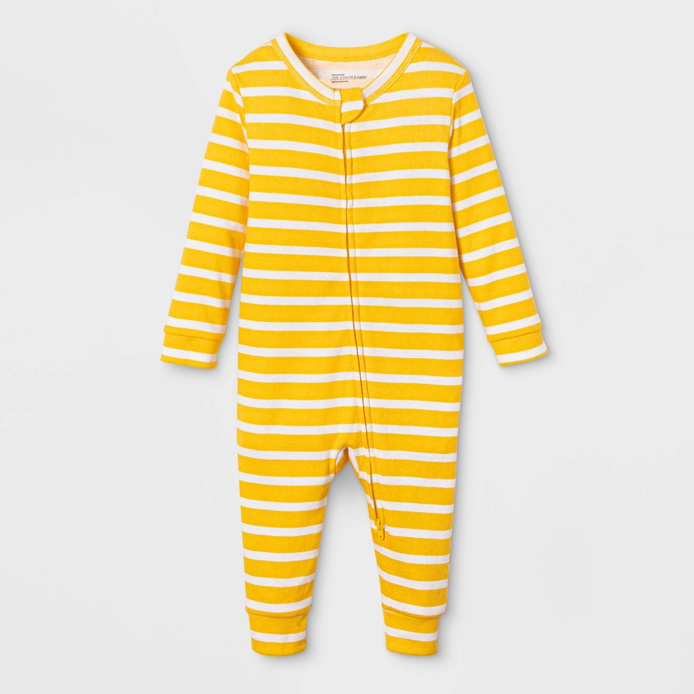Image of Baby Striped Union Suit - Yellow 3-6M, Adult Unisex