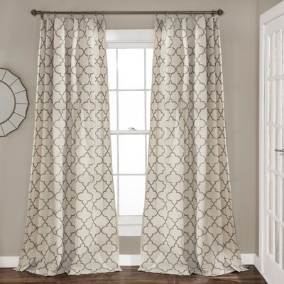 "Set of 2 84""x54"" Geo Trellis Window Curtain Panel Gray - Lush Décor"