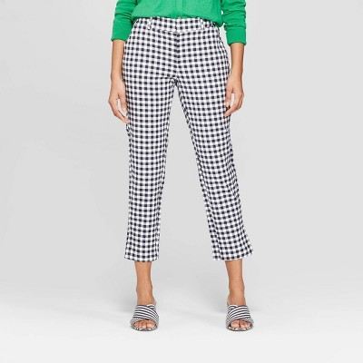 Women's Plaid Straight Leg Slim Ankle Pants   A New Day by A New Day