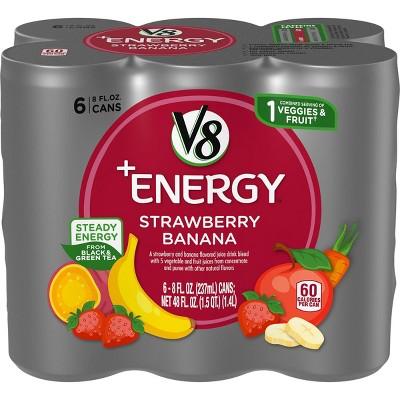 V8 +Energy Strawberry Banana Juice - 6pk/8 fl oz Cans