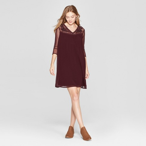 7739ad8a62c9 Women s Floral Print Embroidered Mesh Yoke Swing Dress - Lux II - Burgundy