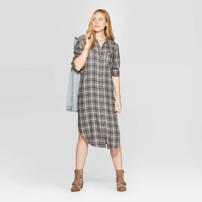Women's Plaid Long Sleeve Midi Button Front Shirtdress   Universal Thread™ by Universal Thread