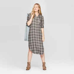 Women's Plaid Long Sleeve Midi Button Front Shirtdress - Universal Thread™