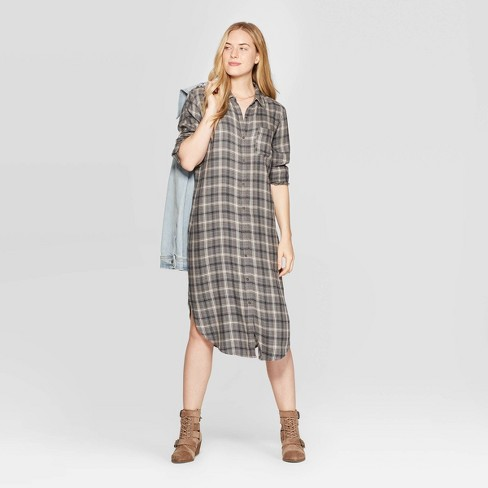 baby 100% satisfaction guarantee online here Women's Plaid Long Sleeve Midi Button Front Shirtdress - Universal Thread™