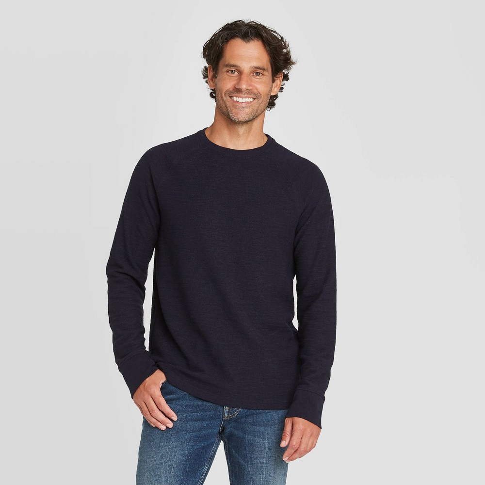 Discounts en's Standard Fit Long Sleeve Textured Crew Neck T-Shirt - Goodfellow & Co™