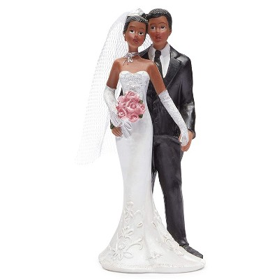 Juvale African American Bride & Groom Figurines Wedding Cake Topper, Wedding Party Cake Decorations Gifts