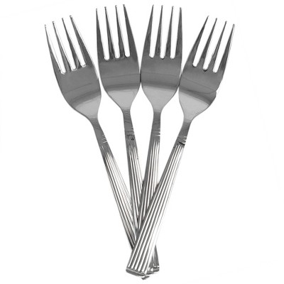 Home Basics Eternity Mirror Finish 4 Piece Stainless Steel Salad Fork Set, Silver