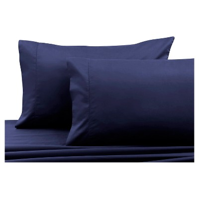 Cotton Sateen Pillowcase Pair (Standard) Navy Blue 750 Thread Count - Tribeca Living