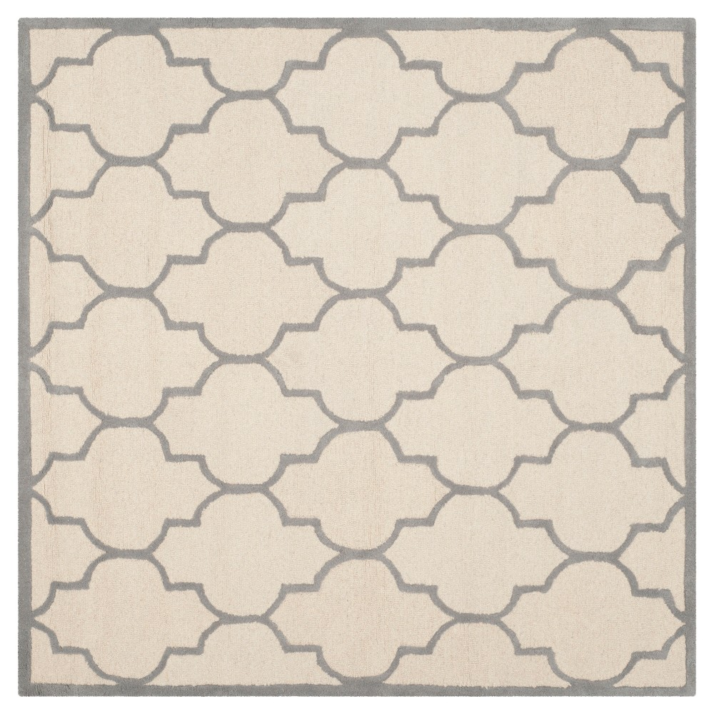 6'X6' Geometric Area Rug Ivory/Silver - Safavieh
