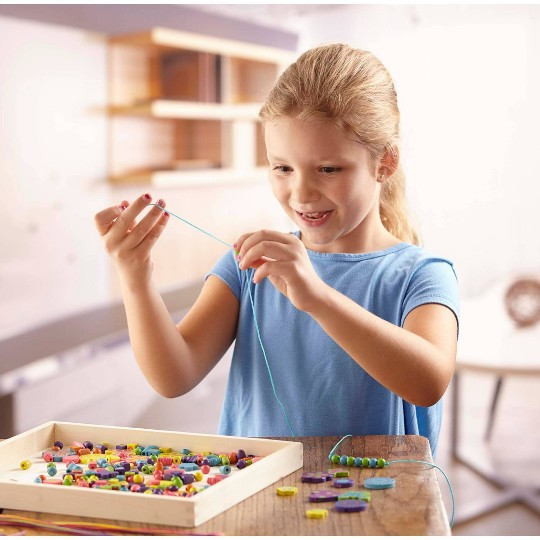 Melissa & Doug Bead Bouquet Deluxe Wooden Bead Set With 220+ Beads for Jewelry-Making image number null
