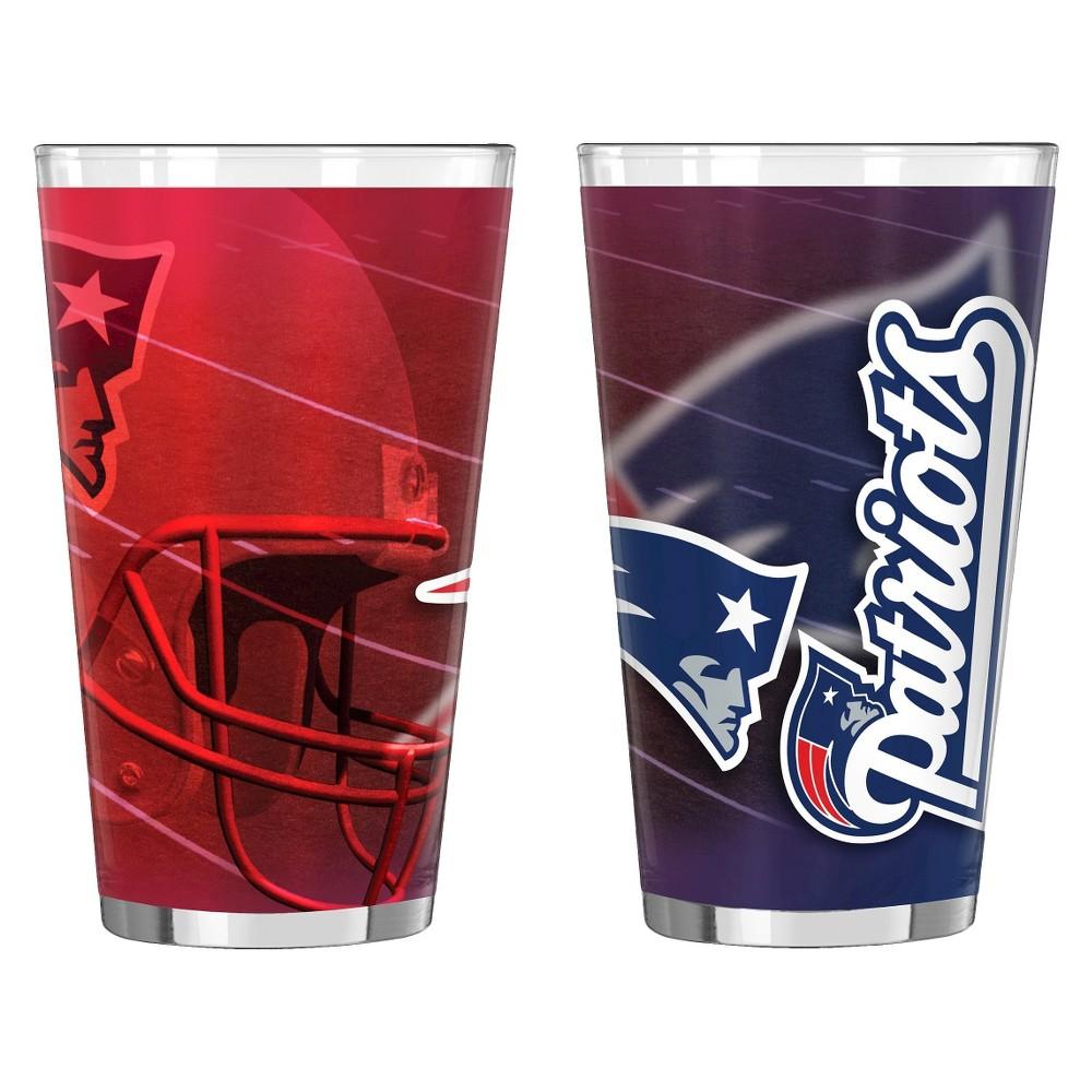 NFL Shadow Style Pint Glass 16oz 2pk - New England Patriots