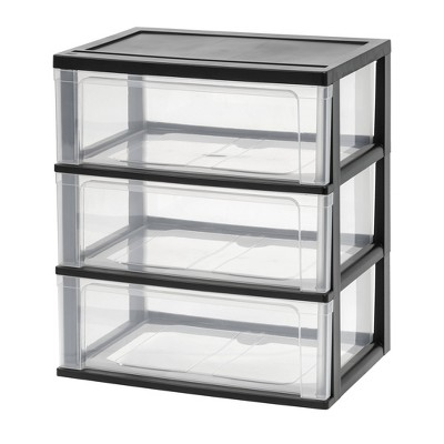 IRIS 3 Drawer Wide Chest ClearBlack