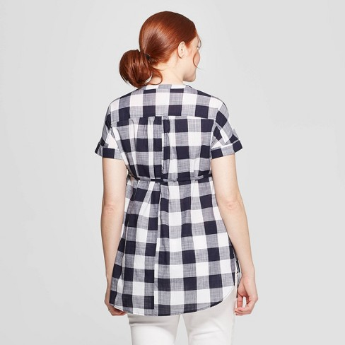 67029a5beb44e Maternity Plaid Dolman Short Sleeve V-Neck Top - Isabel Maternity By Ingrid  & Isabel™ Navy : Target