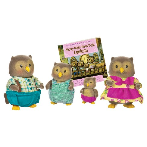 Li'l Woodzeez Miniature Animal Figurine Set - Whooswhoo Owl Family - image 1 of 3