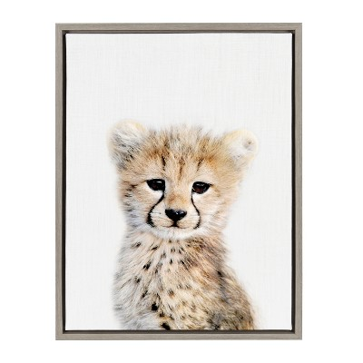 Kate & Laurel 24 x18  Sylvie Baby Cheetah Animal Print Portrait By Amy Peterson Framed Wall Canvas Gray