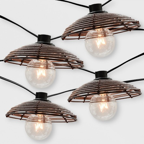 10ct Outdoor Woven Hood String Lights Opalhouse