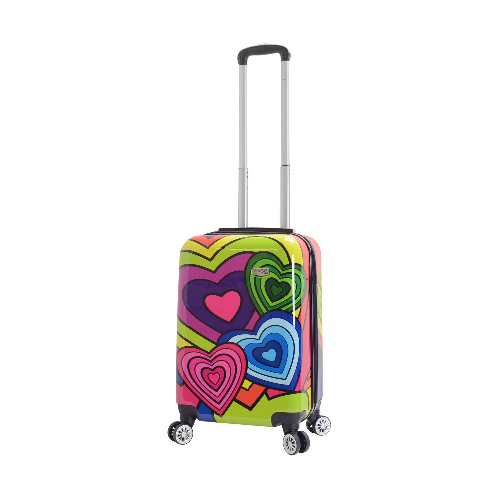 "Image of ""Mia Viaggi ITALY 20"""" Hardside Carry On Suitcase - Pop Heart, MultiColored"""