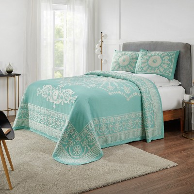 Antique Medallion Lightweight Textured Woven Jacquard Cotton Blend 3-Piece Bedspread Set, King, Turquoise - Blue Nile Mills