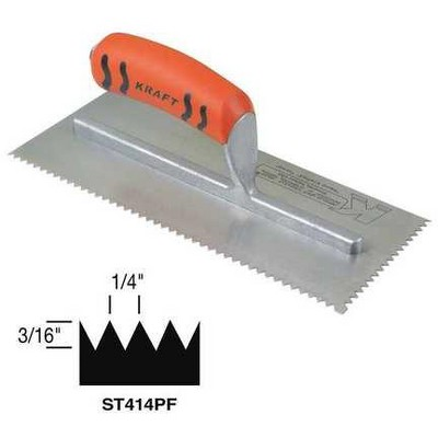 SUPERIOR TILE CUTTER INC. AND TOOLS ST414PF Trowel,V-Notch,11in. L x 4-1/2in. W