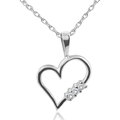 "Pompeii3 Diamond Heart Pendant 3-Stone 10K Gold with 18"" Chain"