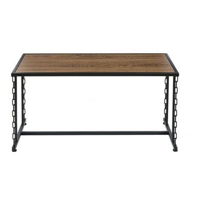 Folsom Ridge Coffee Table Black Steel Hickory Oak Wood Grain Finish Brown    OneSpace : Target