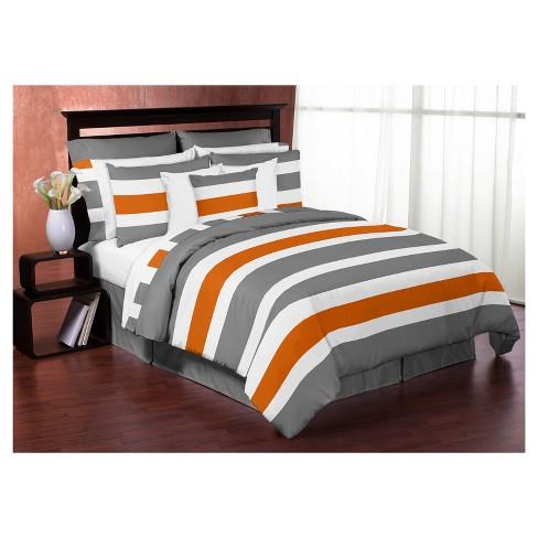Gray Orange Stripe Comforter Set, Gray And Orange Bedding