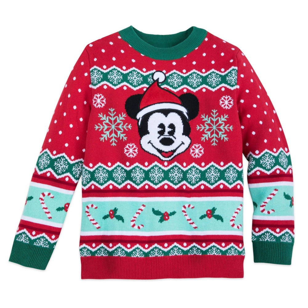 Image of Boys' Disney Mickey Holiday Sweater Red - 5-6 - Disney Store at Target Exclusive, Boy's