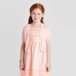 Girls' Short Sleeve Cardigan Sweater - Cat & Jack™ Powder Pink