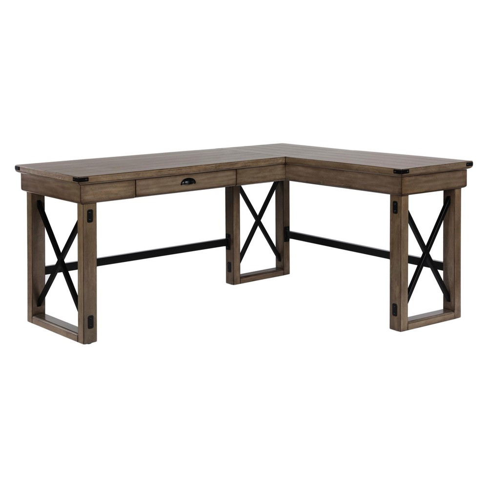 Hathaway L-Shaped Desk with Lift Top Rustic Gray - Room & Joy, Brown