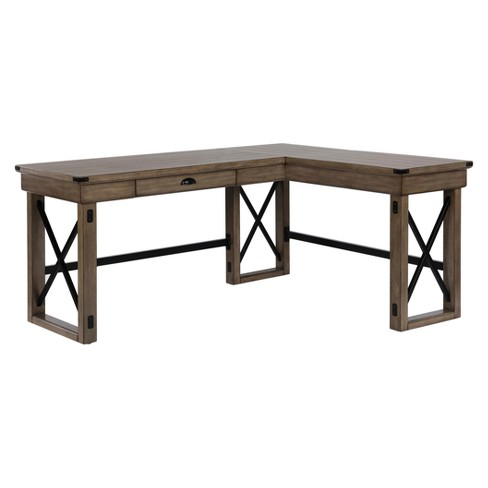 Hathaway L Shaped Desk With Lift Top Rustic Gray Room Joy Target