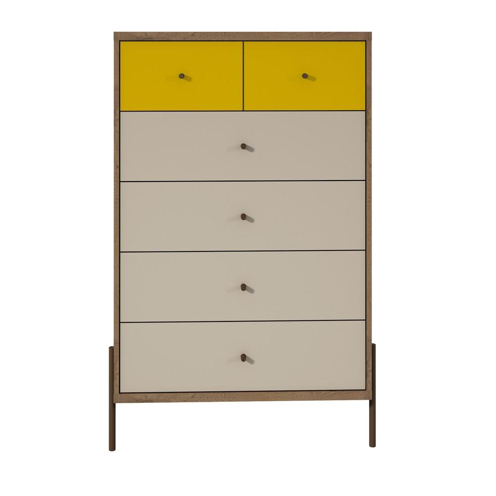 48.43 Joy Tall Dresser Yellow/Off-White (Yellow/Beige) - Manhattan Comfort