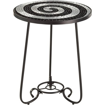Teal Island Designs Spiral Mosaic Black Iron Outdoor Accent Table