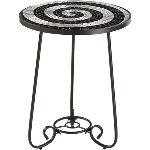 Teal Island Designs Spiral Mosaic Black Iron Outdoor Accent Table - image 1 of 4