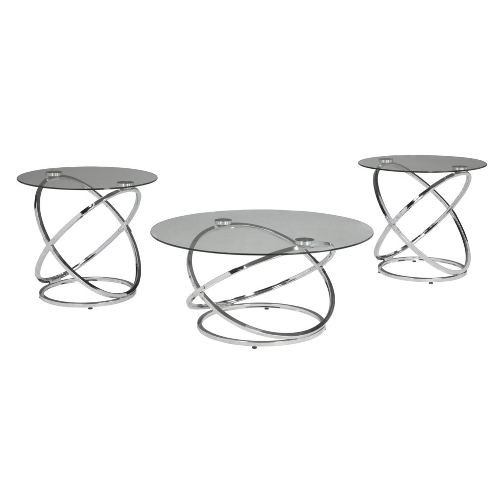 Set of 3 Hollynyx Occasional Table Set Clear/Chrome (Clear/Grey) - Signature Design by Ashley