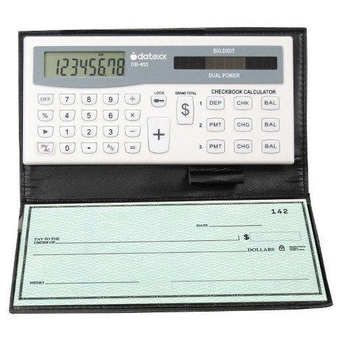 datexx 3 memory checkbook calculator tracks banking or credit
