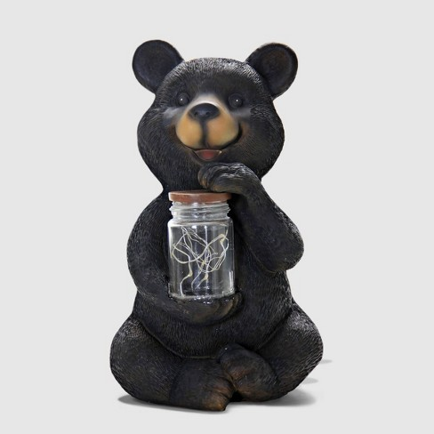 """10"""" Resin Solar Led Bear With Jar Of Fire Flies Black - Exhart - image 1 of 2"""