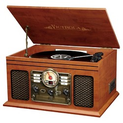 Victrola Wooden 6-in-1 Nostalgic Record Player with Bluetooth and 3 Speed Turntable - Mahogany (VTA-200)