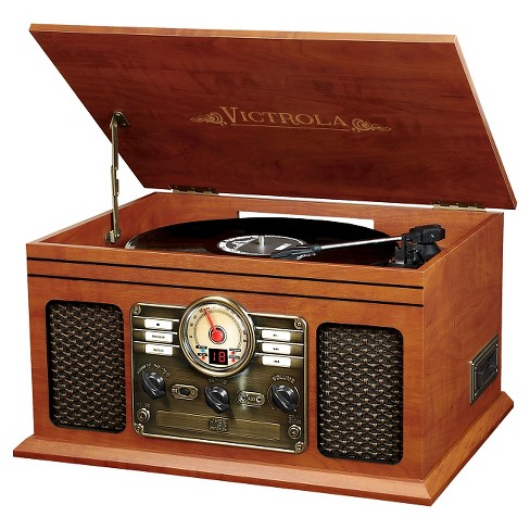 Victrola Wooden 6-in-1 Nostalgic Record Player with Bluetooth and 3 Speed Turntable - Mahogany (VTA-200) - image 1 of 1
