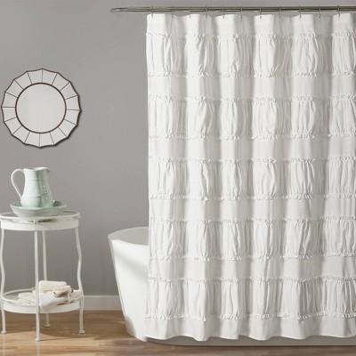 Nova Ruffle Shower Curtain White - Lush Décor