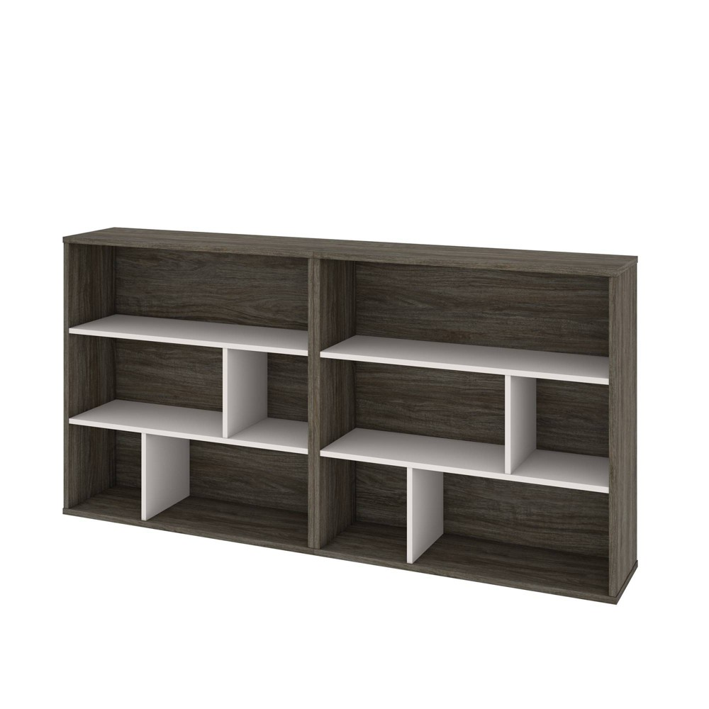 Image of Fom 2 Piece Asymmetrical Shelving Unit Set Walnut Gray/Sandstone - Bestar, Gray/Brown