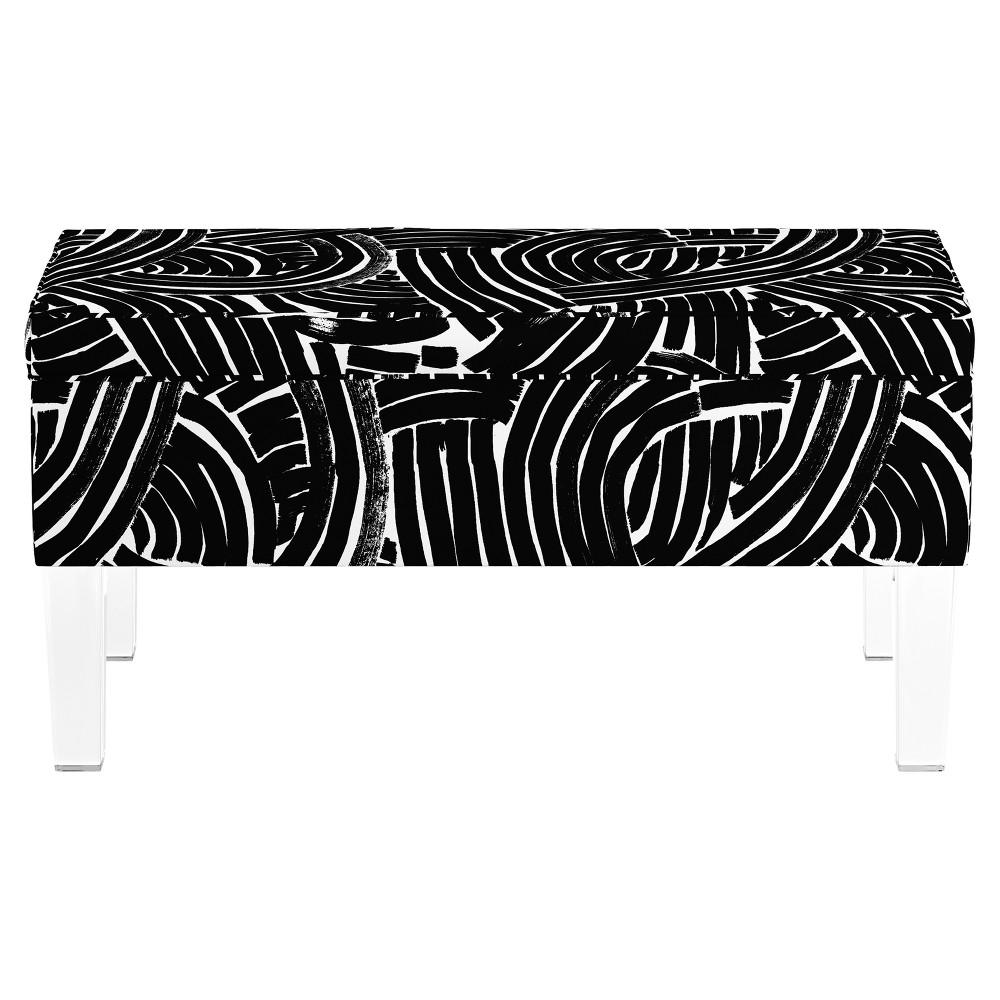 Storage Bench with Acrylic Legs - Black & White Stripes - Oh Joy