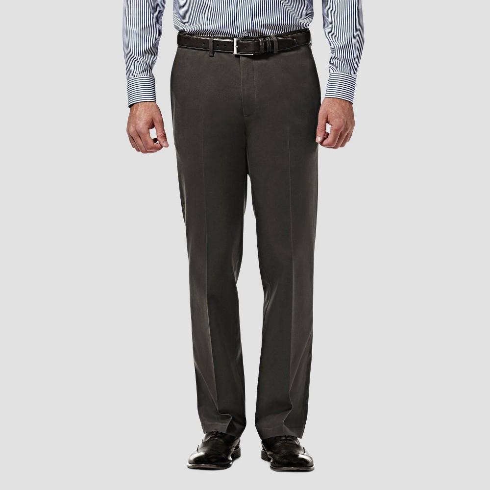 Haggar Men 39 S Premium No Iron Straight Fit Flat Front Casual Pants Dark Gray 40x29