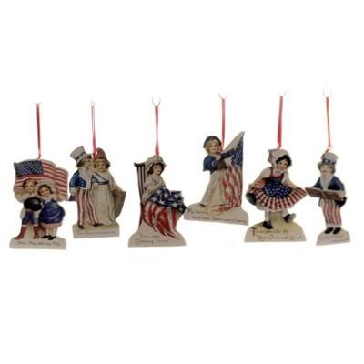 "Patriotic 4.5"" Americana Die Cut Ornaments S/6 Ornament Patriotic Star Stripe  -  Tree Ornaments"
