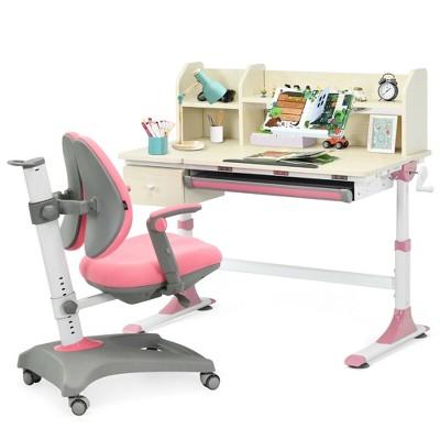 Costway Kids Drafting Table Adjustable Height Study Desk & Chair w/Bookshelf Pink/Gray/Blue