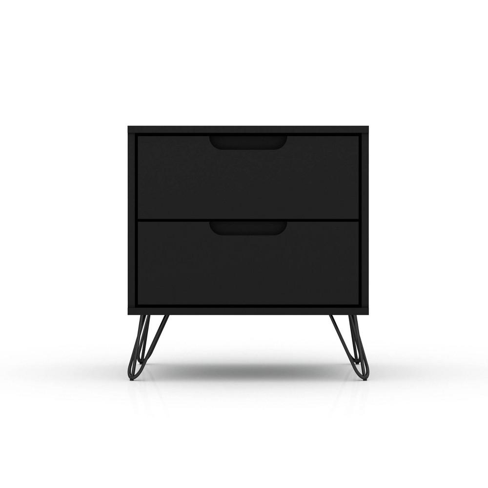 Image of 2.0 Rockefeller Nightstand Black - Manhattan Comfort