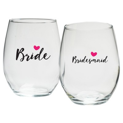 """4ct 15oz """"Bride And Bridesmaids"""" Stemless Wine Glass Pink"""