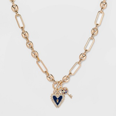 SUGARFIX by BaubleBar Heart and Key Pendant Link Chain Necklace