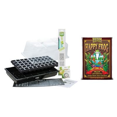 SunBlaster Home Seedling Propagation Kit w/ T5 Light for Veggies, Flowers and Tabletop Herbs, Beginner Kit and Potting Soil Mix