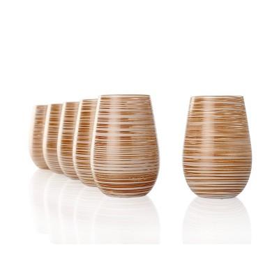 16.5oz 6pk Glass Olympia Twister Tumbler Drinkware Set White/Bronze - Stolzle Lausitz