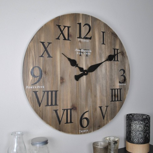 "24"" Rustic Farmhouse Barnwood Wall Clock Weathered Barn Wood - FirsTime & Co. - image 1 of 4"